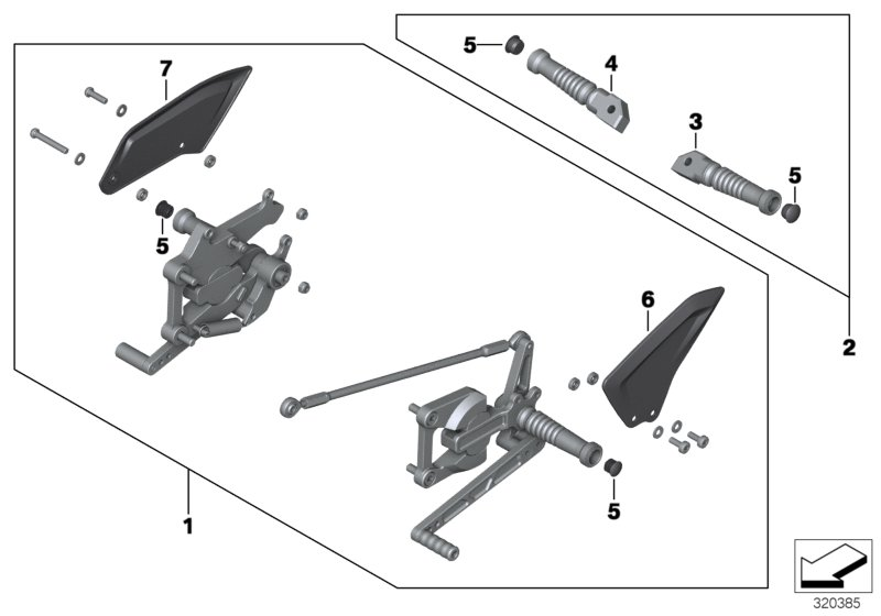 Diagram HP footrest system for your BMW R nineT Urban G/S