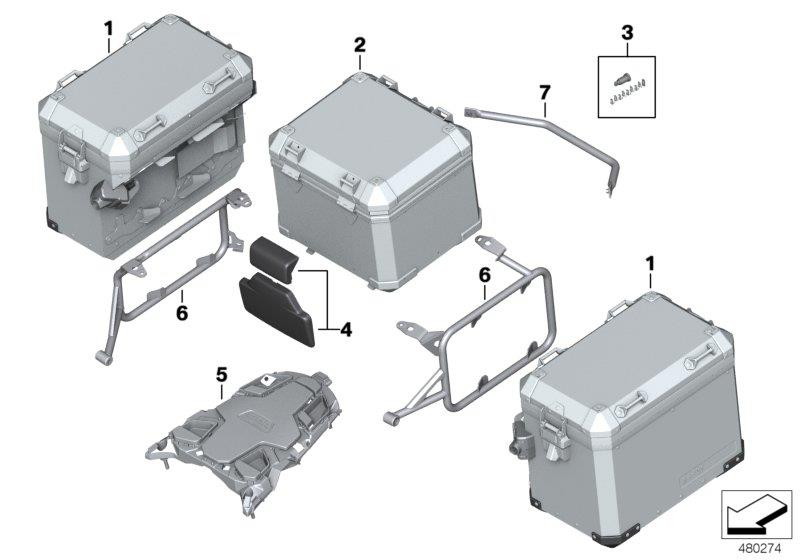 Diagram Luggage system R 1200 GS Adventure for your BMW R1200GS