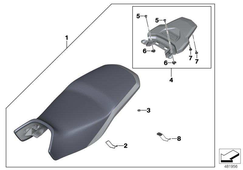 Diagram Set Rallye seat low with luggage plate for your BMW R1200GS